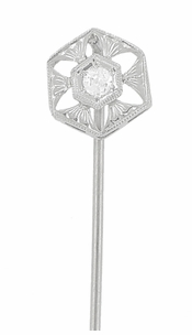 Antique Art Deco Diamond Stickpin in 14 Karat White Gold - Item BR167 - Image 1