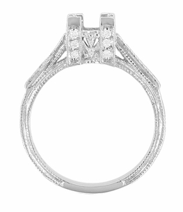 Art Deco 3/4 Carat Princess Cut Diamond Engagement Ring Castle Mounting in 18 Karat White Gold - Click to enlarge