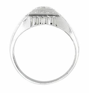 Men's Art Deco Diamond Set Ring in 14 Karat White Gold - Click to enlarge