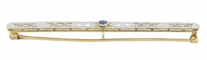Art Deco Filigree Sapphire Antique Krementz Brooch in 14 Karat Gold - Click to enlarge