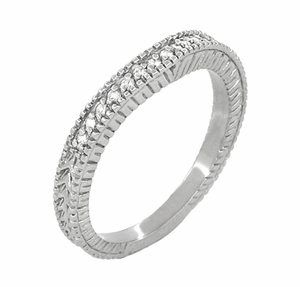 Art Deco Curved Wheat Diamond Wedding Band in 18 Karat White Gold - Item WR1153W - Image 1