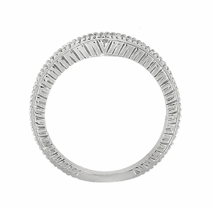 Art Deco Curved Wheat Diamond Wedding Band in 18 Karat White Gold - Item WR1153W - Image 4
