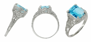 Edwardian Filigree Emerald Cut Swiss Blue Topaz Ring in 14 Karat White Gold - Click to enlarge