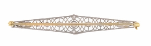 Art Deco Concentric Circles Antique Filigree Diamond Bar Brooch in Platinum - Item BR176 - Image 2