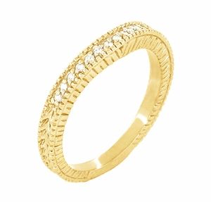 Art Deco Curved Wheat Diamond Wedding Band in 18 Karat Yellow Gold - Item WR1153Y - Image 1