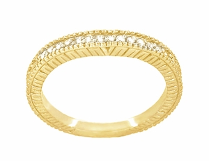 Art Deco Curved Wheat Diamond Wedding Band in 18 Karat Yellow Gold - Item WR1153Y - Image 2