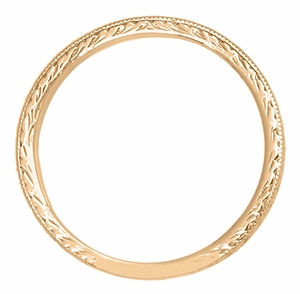 Art Deco Engraved Wheat Wedding Band in 14 Karat Rose ( Pink ) Gold - Item R858RND - Image 1