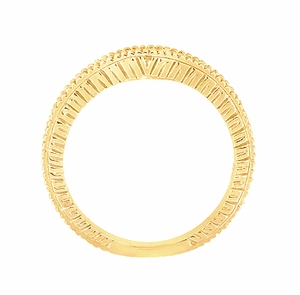 Art Deco Curved Wheat Diamond Wedding Band in 18 Karat Yellow Gold - Item WR1153Y - Image 4