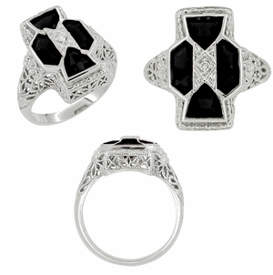 Art Deco Filigree Happy Family 4 Stone Black Onyx and Diamond Filigree Ring in 14 Karat White Gold - Item R1150on - Image 1