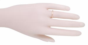 Art Deco Engraved Wheat Wedding Band in 14 Karat Rose ( Pink ) Gold - Item R858RND - Image 2