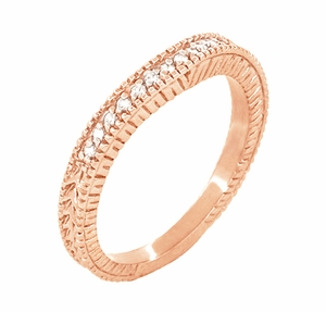 Art Deco Curved Wheat Diamond Wedding Band in 14 Karat Rose Gold - Item WR1153R - Image 1