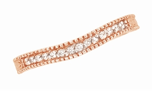 Art Deco Curved Wheat Diamond Wedding Band in 14 Karat Rose Gold - Item WR1153R - Image 3