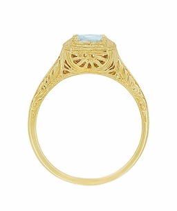 Aquamarine Art Deco Filigree Scrolls Engraved Engagement Ring in 14 Karat Yellow Gold - Click to enlarge