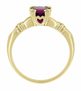 Art Deco Hearts and Clovers Rhodolite Garnet Engagement Ring in 14 Karat Yellow Gold - January Birthstone - Click to enlarge