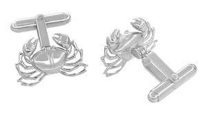Crab Cufflinks in Sterling Silver   - Item SCL170 - Image 1