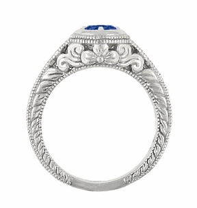 Art Deco Filigree Flowers and Scrolls Engraved Blue Sapphire and Diamond Engagement Ring in 18 Karat White Gold - Item R990W50S - Image 4