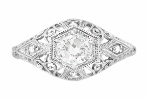 Edwardian Diamond Scroll Dome Filigree Engagement Ring in 14 Karat White Gold - Item R139D - Image 1