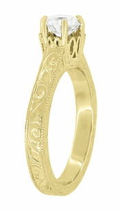 Art Deco Crown Filigree Scrolls Engraved Solitaire Diamond Engagement Ring in 18 Karat Yellow Gold - Click to enlarge