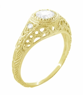 Art Deco Engraved Filigree White Sapphire Engagement Ring in 18 Karat Yellow Gold - Click to enlarge