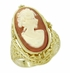 Filigree Flip Ring with Carnelian Shell Cameo and Black Onyx in 14 Karat Gold