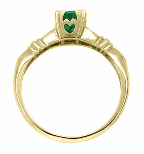 Art Deco Hearts and Clovers Emerald Engagement Ring in 14 Karat Yellow Gold - Click to enlarge