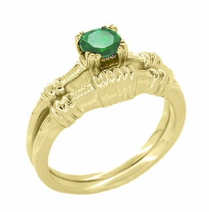 Art Deco Hearts and Clovers Emerald Engagement Ring in 14 Karat Yellow Gold - Item R163Y - Image 2