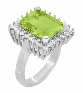 Emerald Cut Peridot Ballerina Ring with Diamonds in 18 Karat White Gold - Item R1176WPER - Image 1