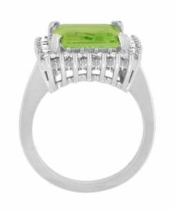 Emerald Cut Peridot Ballerina Ring with Diamonds in 18 Karat White Gold - Click to enlarge