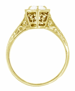 Art Deco White Sapphire Filigree Engagement Ring in 14 Karat Yellow Gold - Click to enlarge