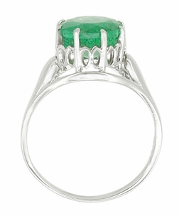 Regal Emerald Crown Engagement Ring in 14 Karat White Gold - Item R419W - Image 1
