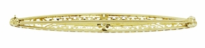 Krementz Art Deco Filigree Diamond Antique Engraved Bar Brooch in 14K Yellow Gold and Platinum - Item BR188 - Image 1