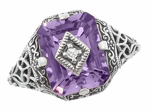 Art Deco Flowers and Leaves Amethyst and Diamond Filigree Ring  in Sterling Silver - Item SSR15A - Image 1