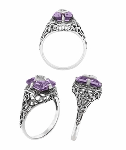 Art Deco Flowers and Leaves Amethyst and Diamond Filigree Ring  in Sterling Silver - Click to enlarge
