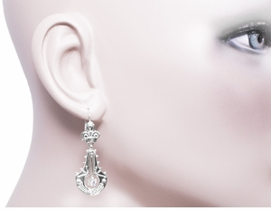 Victorian Diamond Double Dangle Drop Earrings in 14 Karat White Gold - Click to enlarge