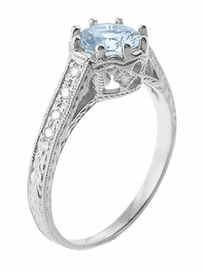 Royal Crown 1 Carat Aquamarine Antique Style Engraved Engagement Ring in 18 Karat White Gold - Click to enlarge