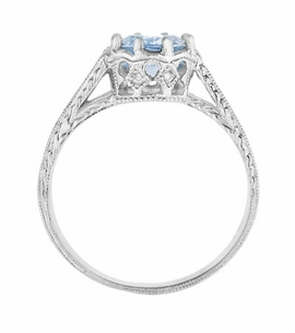 Royal Crown 1 Carat Aquamarine Antique Style Engraved Engagement Ring in 18 Karat White Gold - Item R460A - Image 3