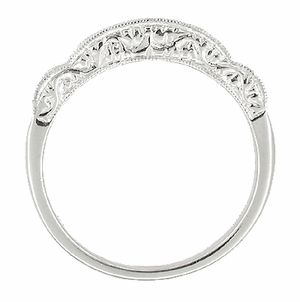 Art Deco Diamond Scroll Carved Wedding Band in Platinum - Click to enlarge