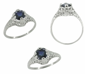 Edwardian Filigree Sapphire and Diamond Ring in Platinum - Click to enlarge