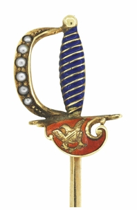 Antique Victorian Sword Stickpin with Enamel and Seed Pearls in 14 Karat Yellow Gold - Item BR187 - Image 1