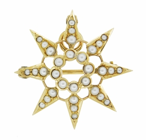 Antique Victorian Seed Pearl Starburst Pendant Brooch 14 Karat Yellow Gold - Click to enlarge