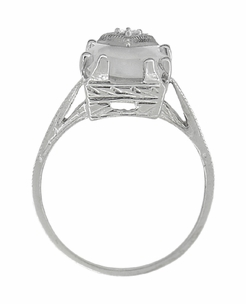 Art Deco Sunburst Crystal and Diamond Ring in 18 Karat White Gold - Item R920 - Image 2