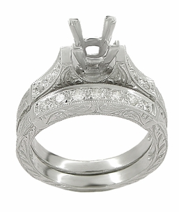 Art Deco Scrolls 1 Carat Princess Cut Diamond Engagement Ring Setting and Wedding Ring in 18 Karat White Gold - Click to enlarge