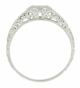 Art Deco Filigree Engagement Ring Setting in Platinum for a 1/4 - 1/3 Carat Diamond - Item R311NS - Image 1