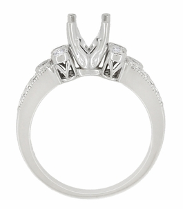 Eternal Stars 3/4 Carat Diamond Engraved Fleur De Lis Engagement Ring Mounting in 14 Karat White Gold - Item R841R - Image 4
