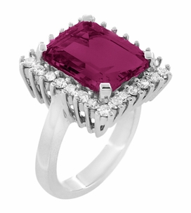 Emerald Cut Rubellite Tourmaline Ballerina Ring with Diamonds in 18 Karat White Gold - Item R1176WRG - Image 1