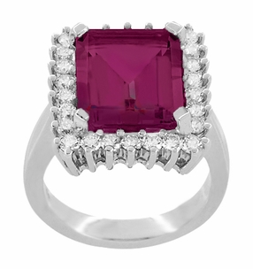 Emerald Cut Rubellite Tourmaline Ballerina Ring with Diamonds in 18 Karat White Gold - Item R1176WRG - Image 2