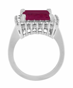 Emerald Cut Rubellite Tourmaline Ballerina Ring with Diamonds in 18 Karat White Gold - Click to enlarge