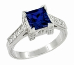 Art Deco 1 Carat Princess Cut Blue Sapphire and Diamond Engagement Ring in Platinum