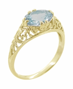 Edwardian Oval Aquamarine Filigree Ring in 14 Karat Yellow Gold - Item R799YA - Image 1