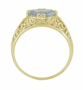 Edwardian Oval Aquamarine Filigree Ring in 14 Karat Yellow Gold - Item R799YA - Image 2